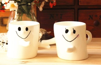 300ml Happy Hug For Lover Friends Family Coffee Milk Ceramic Mug Cup