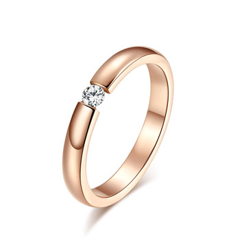 Beautiful one crystal rose gold color rings for women wedding ring lovers' ring anillos mujer aneis ringen bijoux