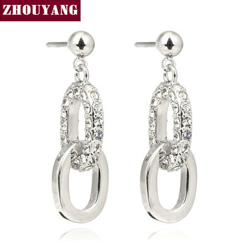 Top Quality ZYE129 Simple Silver Color Stud Earrings Jewelry For Women Party Austrian Crystal Wholesale