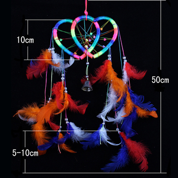 Heart Dream Catcher Brown Red Wall Hanging With Feather Bead Ornament Decoration